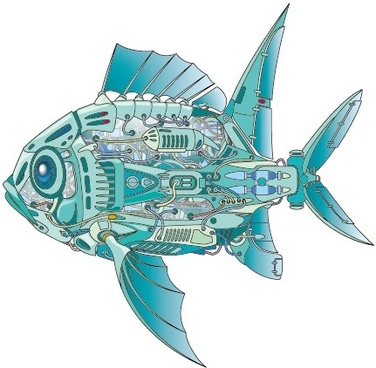 mechanical fish creative design vector