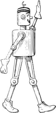 Mechanical Man Side View clip art