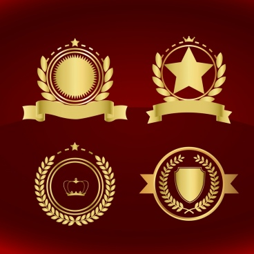 medal design elements golden classical decoration