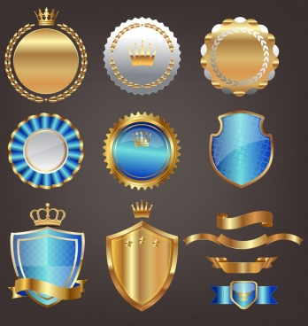 medal design elements royal style various shiny shapes