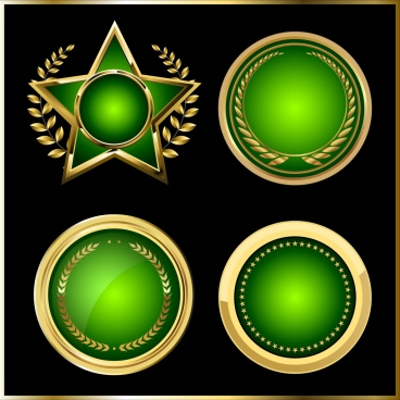 medal templates round star icons shiny green design