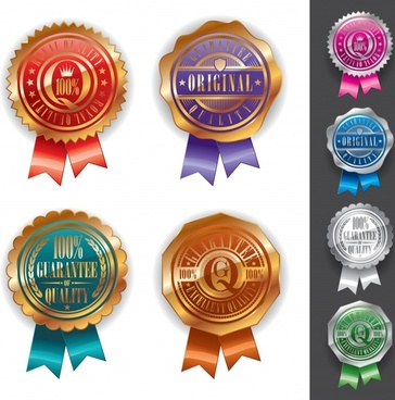 medal label templates shiny colored serrated circles decor