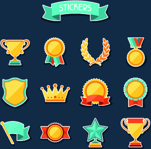 medals objects design vector