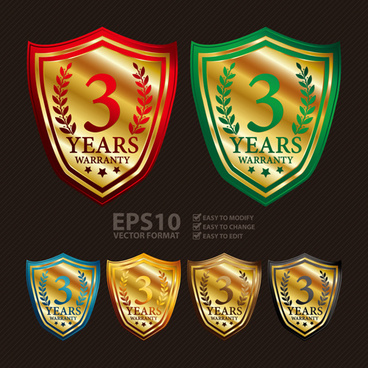 medals shield laurel wreath vector labels vector