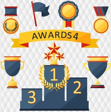 medals with cup and awards elements vector set