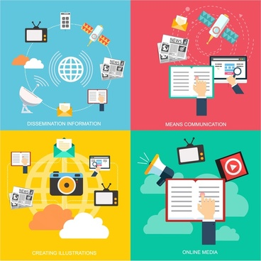 media design concepts isolated in flat colored illustration