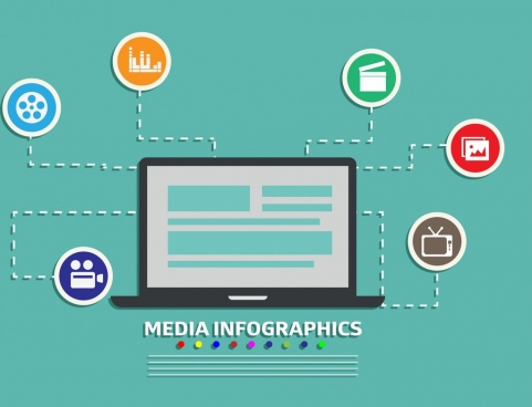 media infographic laptop icon circle ui ornament