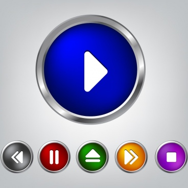 media player button sets shiny multicolors circles