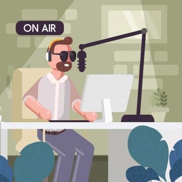 media studio background man microphone laptop icons