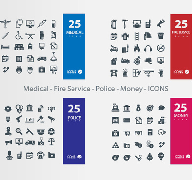 medical11 fire service11 police11 money icons vector