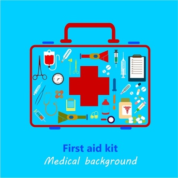medical background design with colored first aid kit