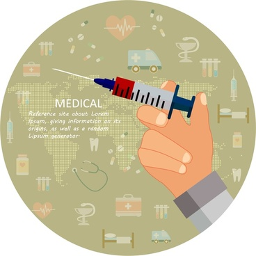 medical banner illustration with hand holding syringe