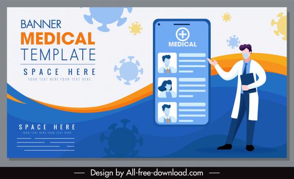 medical banner template smartphone viruses doctor sketch