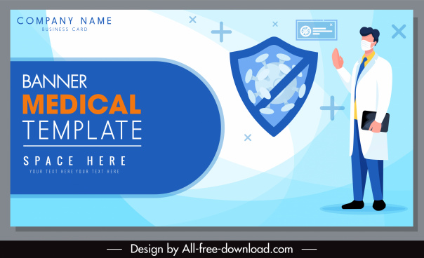 medical banner template virus shield doctor sketch