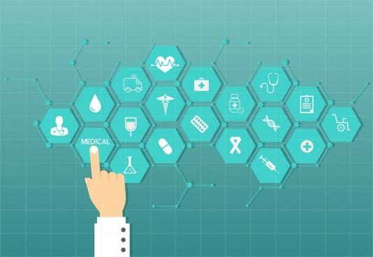 medical design elements blue hexagon decoration