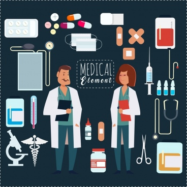 medical design elements doctors icons flat colored tools