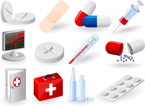medical elements vector collection