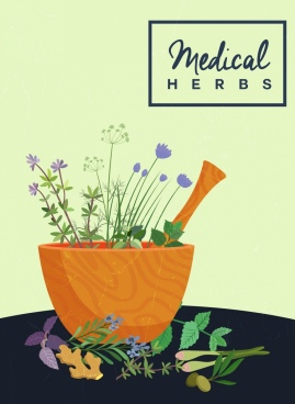 medical herbs advertisement wooden mortar colorful flowers decor