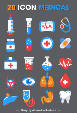 medical icons colorful flat symbols sketch