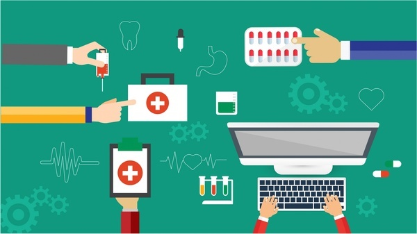 medical icons sets vector illustration in colored style