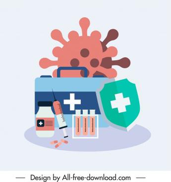medical icons virus shield medicine elements sketch