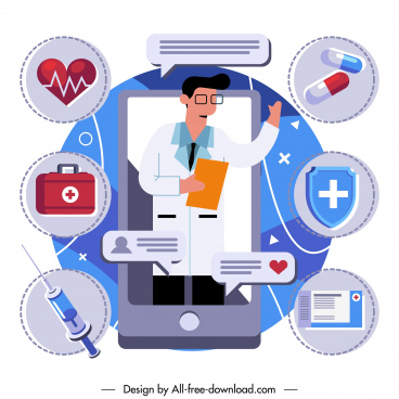medical service background smartphone clinic elements sketch