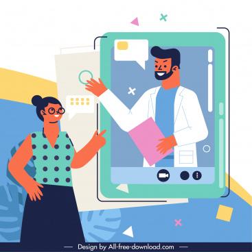 medical service banner smartphone doctor consultant sketch