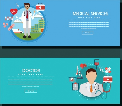 medical service banners webpage design doctor icon