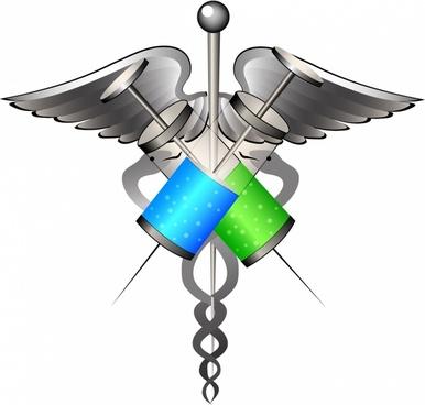 medical symbol with syringes
