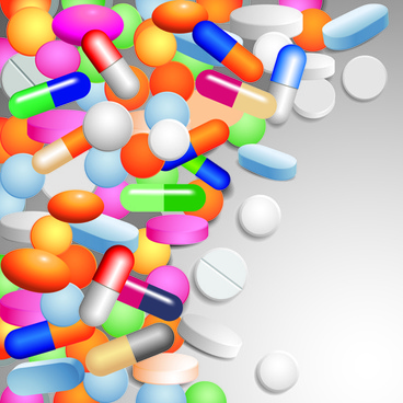 medical tablets with capsules background vector