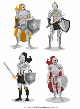 medieval armor icons shiny classical design