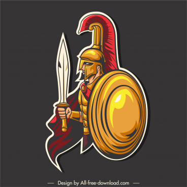 medieval fighter icon spartan warrior sketch cartoon design
