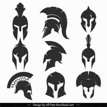 medieval helmet icons black silhouette sketch
