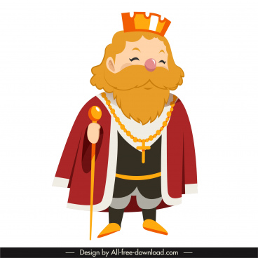 medieval king icon old man sketch cartoon character