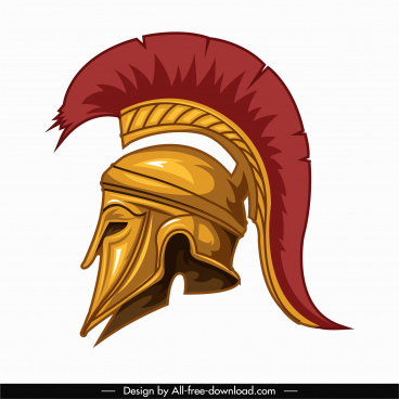 medieval knight helmet icon colored classic 3d sketch