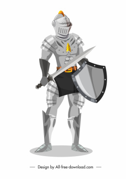 medieval knight icon ancient armor sketch standing gesture