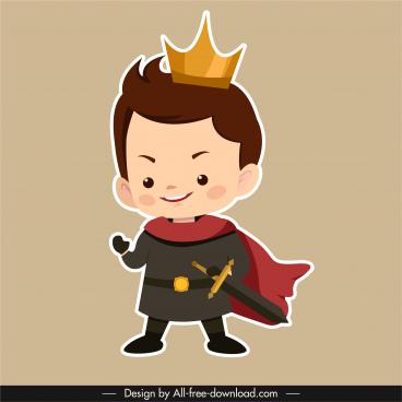 medieval prince icon cute boy sketch flat cartoon