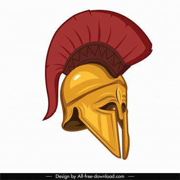 medieval warrior helmet icon colored 3d sketch