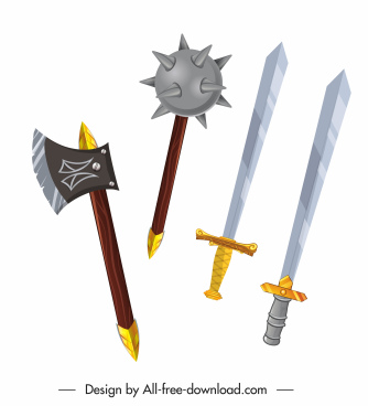 medieval weapon icons ax dagger swords sketch