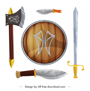 medieval weapon icons shield sword knife ax sketch