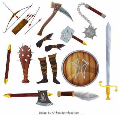 medieval weapons icons colored modern design