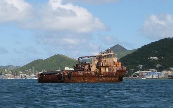 mediterranean sea old ship rusty