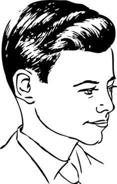 Medium Haircut With Side Part clip art