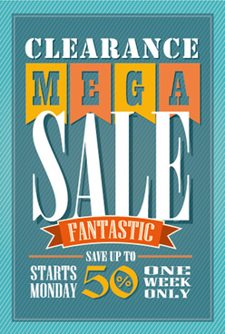 mega sale advertising poster retro vector