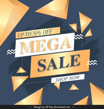 mega sale banner template modern dynamic geometric decor