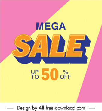 mega sale poster bright colorful texts decor