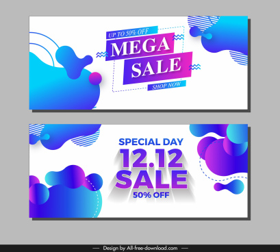 mega sale voucher template colorful abstract deformed decor