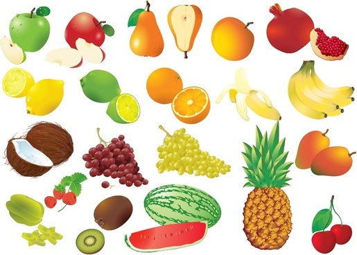 fruits icons collection multicolored 3d design