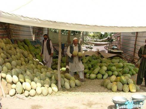 melons market stall kabul