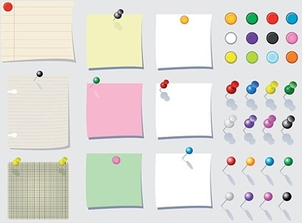 note paper and pin icons colorful design style